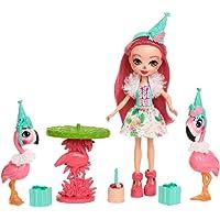 Enchantimals Coffret Anniversaire, Mini-poupée Fanci Flamant et Figurines Animales Swash et Kiba avec table et accessoires, jouet enfant, FCG79