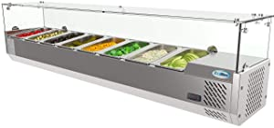 KoolMore Refrigerated Countertop Condiment Prep Station with Glass Sneeze Guard - Includes Eight 1/4 Pans