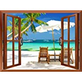 """wall26 - Tropical Beach Scenery Removable Wall Sticker / Wall Mural - 36""""x48"""""""
