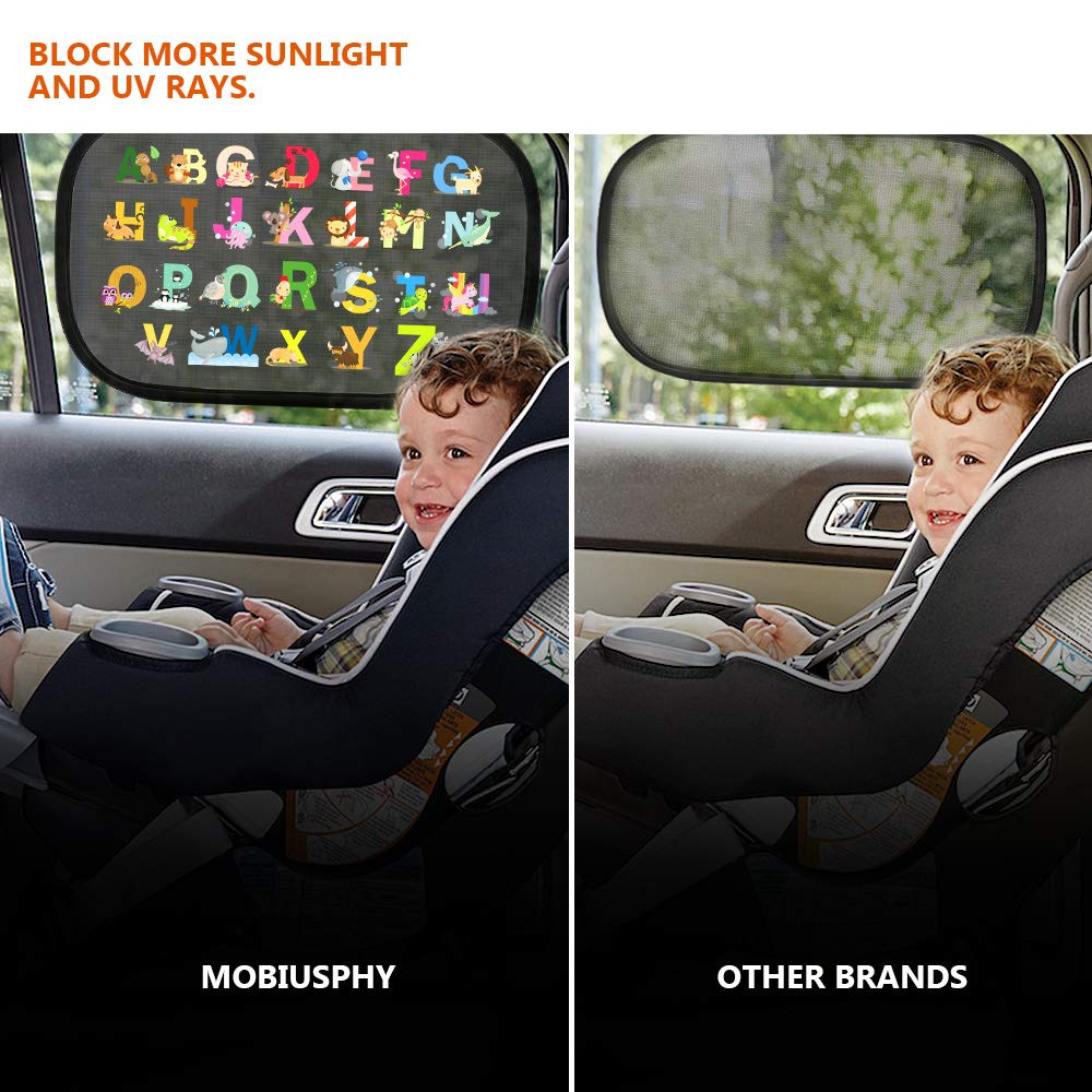Universal Car Sunshades for babies with UV Protection 51*31 CM Suitable For Most Vehicles 2 Pack Colorful Car Window Shades For Baby Car Sun Shades For Kids Blocks UV Rays