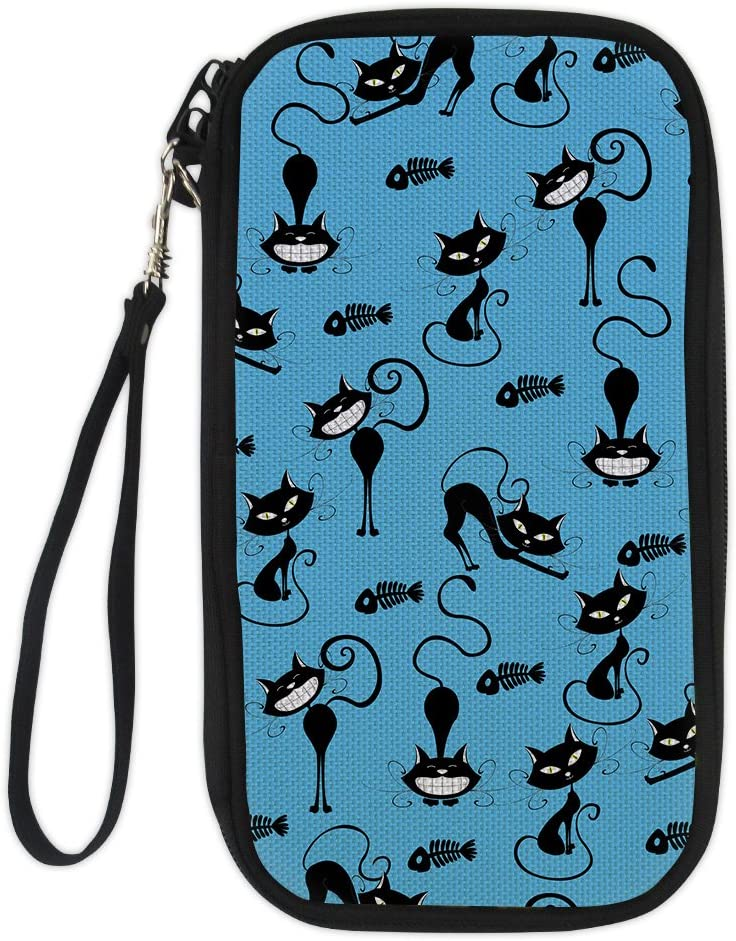 LedBack Cute Cartoon Cat Passport Wallets for Family Travel with Adjust Strap