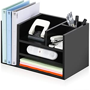 FITUEYES Black Wood Desk Organizer Workspace Organizers with 6 Compartments