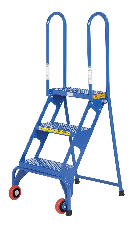 3 Step Ladder Steel Wheels Folding Guardrails Industrial