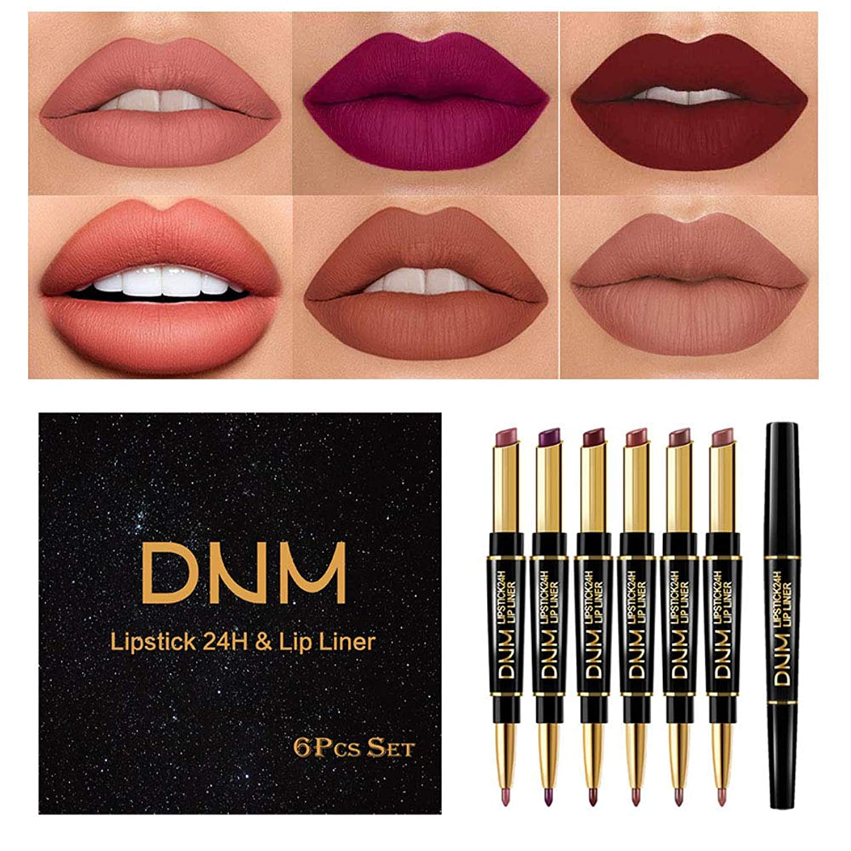 Lipstick Lip Liner 2in1 Set, 6 Colors Double Heads Waterproof Long Lasting Lipstick Matte Moist Lipliner Pen Cosmetics Kit Not Stick Cup Lip Gloss Lip Glaze for Women, Girl Makeup