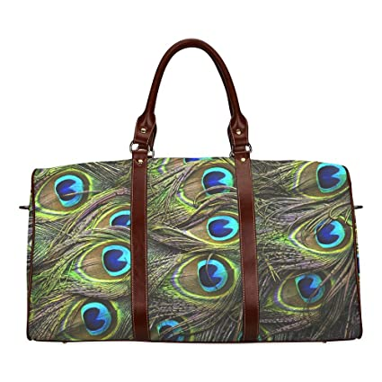 6e6d0db7e5c3 Amazon.com   Unisex Luggage Tote Bag Unique Design Peacock Feather  Waterproof fabric Two-sided Printing Canvas Travel Duffel Bag  Weekend Bag    Sports   ...