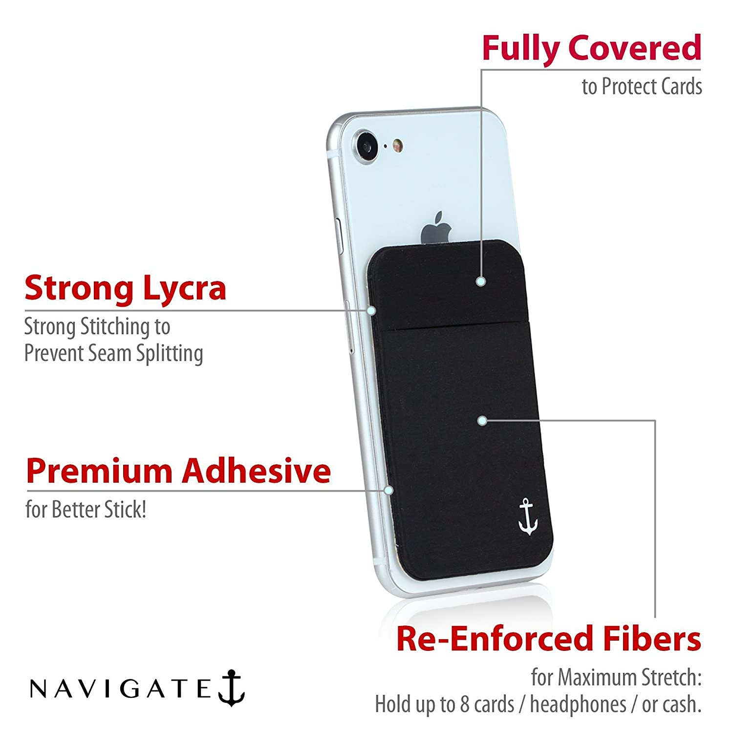 amazoncom cell phone card holder stick on wallet by navigate secure your credit cards without a bulky wallet or purse cell phones accessories