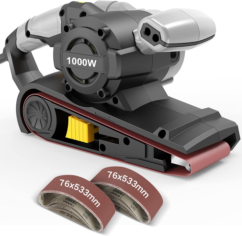 Lijadora de banda Jellas, 1000 W, 6 controles de velocidad variable con interruptor autobloqueante