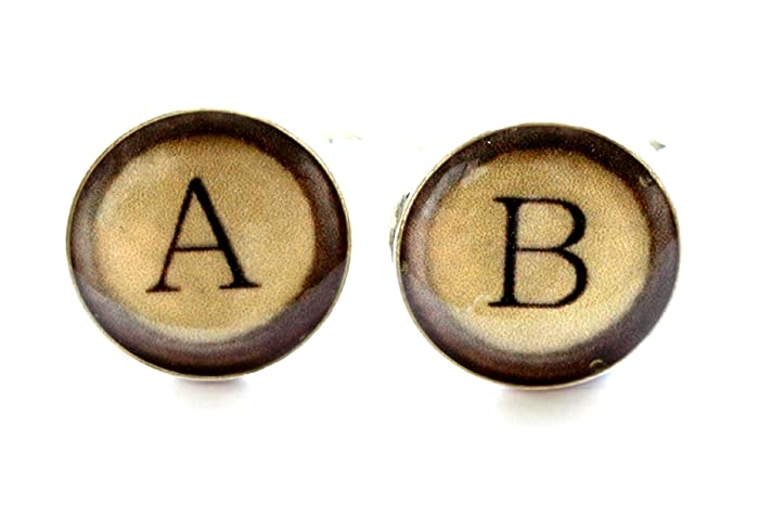Gemelos de la máquina de escribir, mancuernas del monograma, mancuernas de la letra,