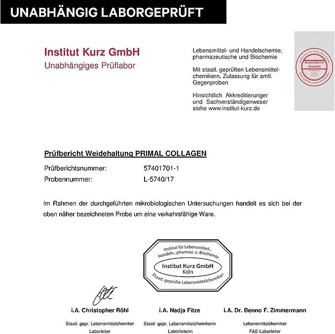 Proteína de colágeno PRIMAL   Péptidos hidrolizados de colágeno   Proviene de ganado de pastoreo   Tipo I y Tipo II   Aprobado por laboratorios   Sin ...