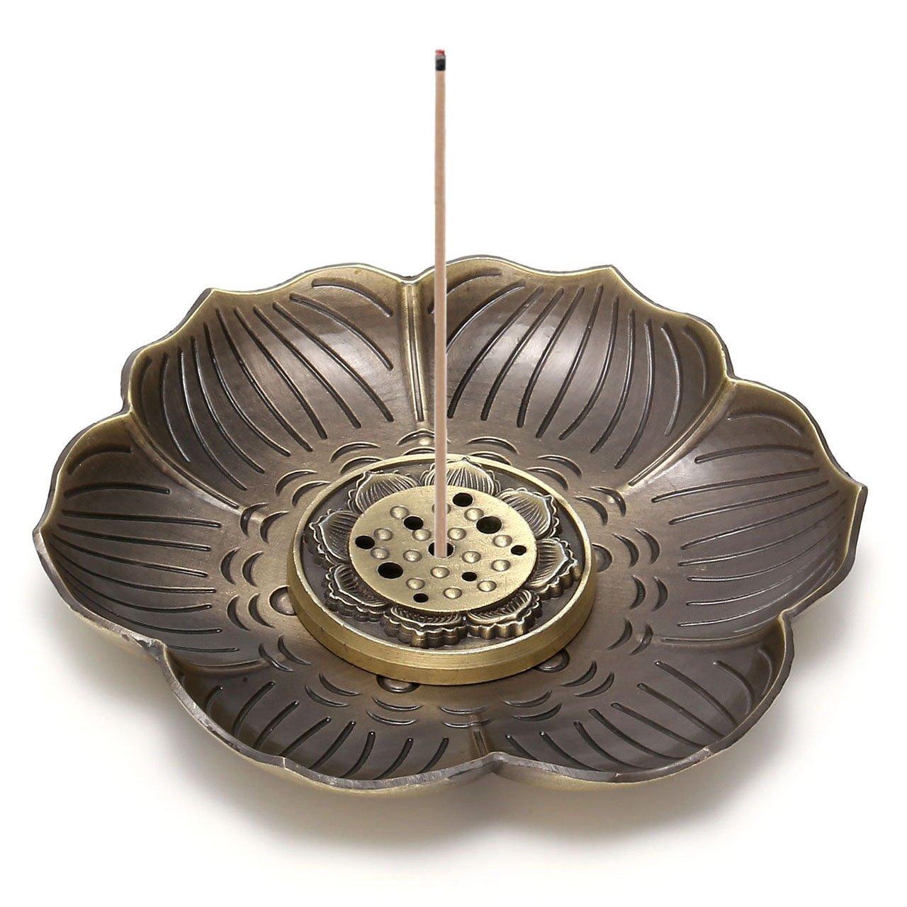 CrystalTears Vintage Brass Incense Burner Holder,Lotus Stick Incense Burner, Backflow Incense Burner,Ash Catcher Nine Hole Type Design (Bronze)