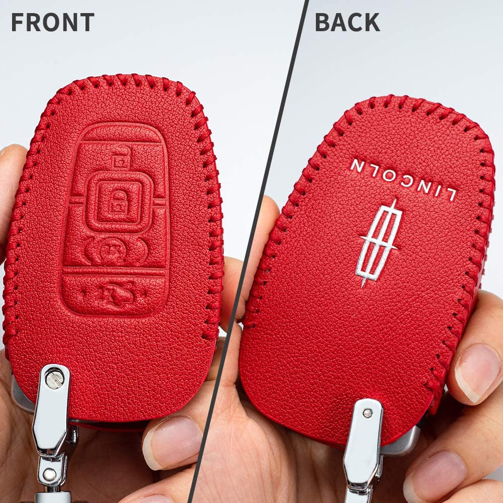 Car Key fob Cover Key case for Lincoln Genuine Leather Protector Keychain 2017 2018 2019 Lincoln Continental MKC MKZ Navigator Smart keyless Entry Remote Key Fob Cover case 4 Buttons