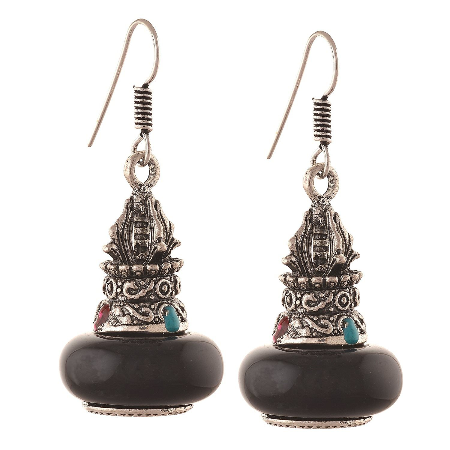 Efulgenz Indian Vintage Bollywood Retro Ethnic Gypsy Oxidized Boho Silver Plated Dangle Drop Hook Earrings for Girls and Women Love Gift