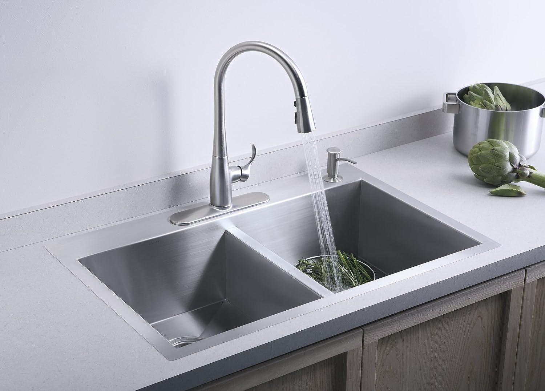 KOHLER K-3820-4-NA Vault Double-Equal Kitchen Sink with Four-Hole ...
