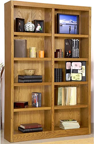 Editors' Choice: Ten Shelf Double Bookcase 72″H Dry Oak Finish