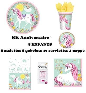 Set de Cumpleaños Completa Unicornio mágico 8 niños (8 ...