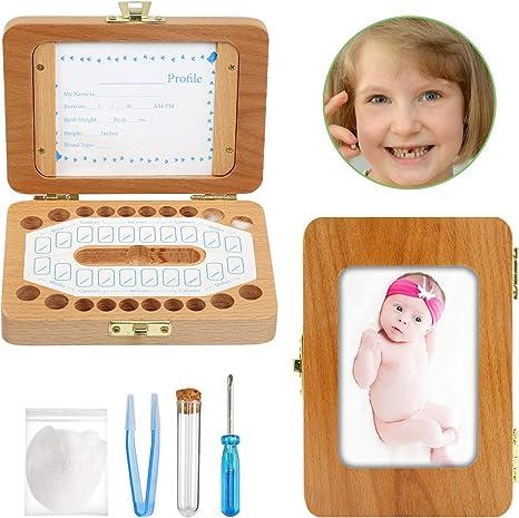 Ballery Caja de dientes bebés, Caja para Guardar Dientes de Bebé para Niño y Niña Almacenaje Madera de Souvenir Teeth Box resistente y segura Dientes de Leche de ...