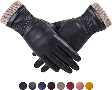 Leather gloves. XL Woman/'s Thick winter Leather Dress Gloves Black Warm Gloves