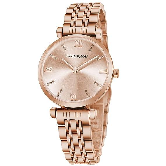Cardqiou - Reloj de Pulsera para Mujer, Resistente al Agua, Cuarzo, para Vestido, Oro Rosa: Amazon.es: Relojes