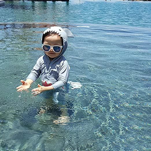 Kid Toddler Boy Beach One-Piece Swimsuit Shark Print Hoodie with Zip Protective Sunsuit Kehen