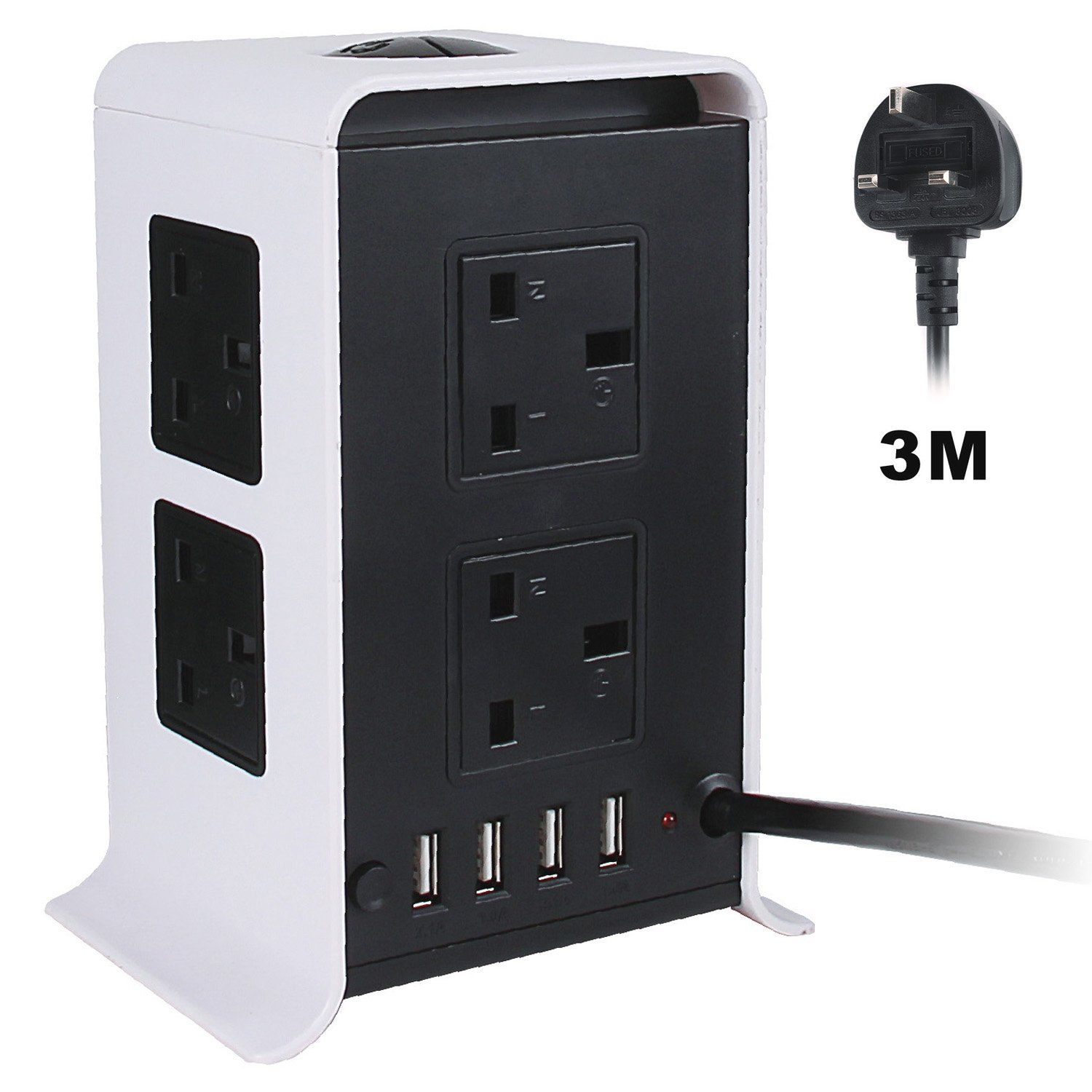 NPET Extension Leads 3M/9.8ft Tower Power Strips Surge Protector Overload Protection with 8 Way Outlets 4 USB Ports for Home Office PengXuan E-commerce Co. Ltd