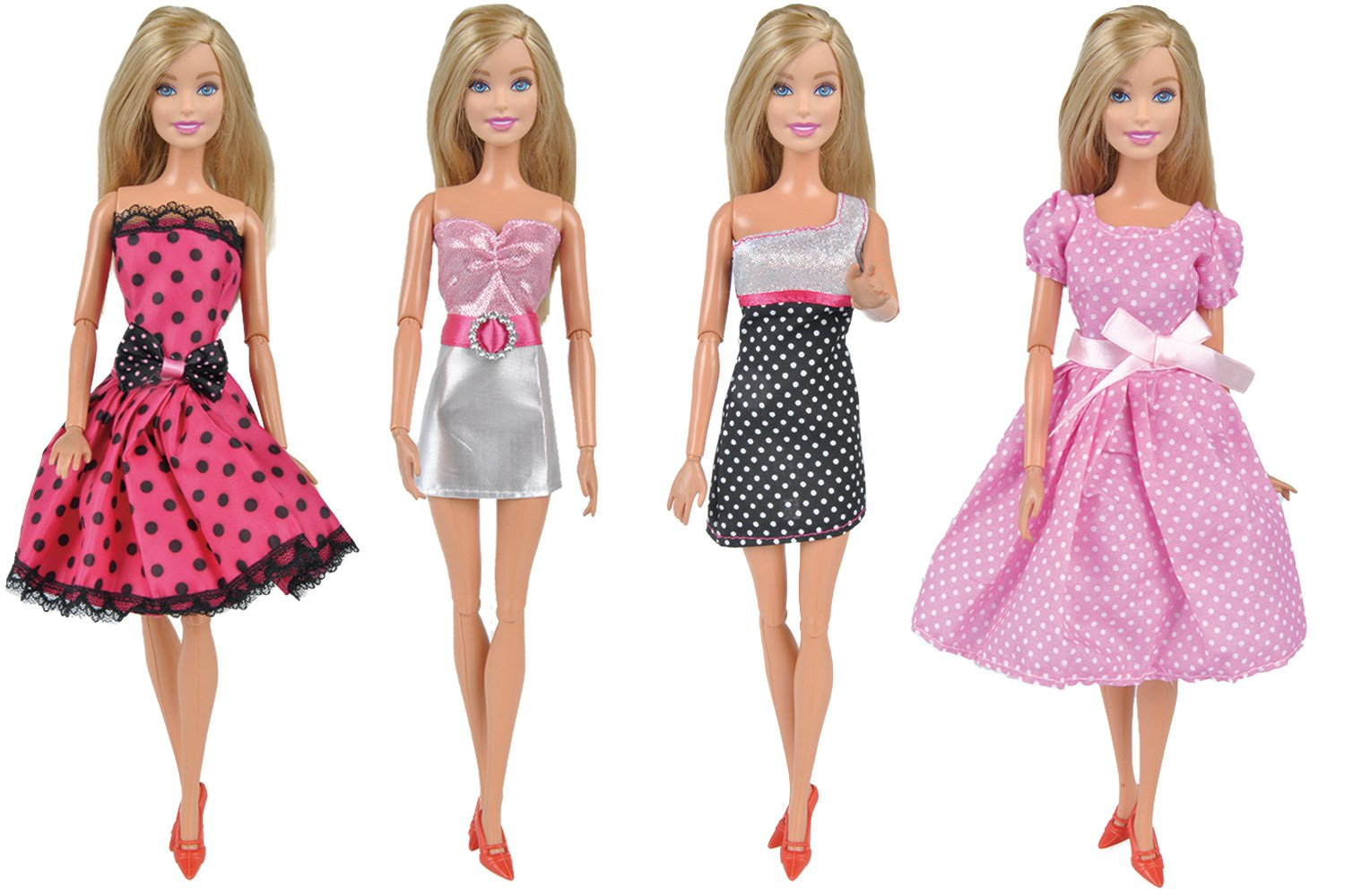 E-TING 4pcs Mini Dress Fancy Doll Clothes for Girl Fashionistas Dolls (#B) (Color A)