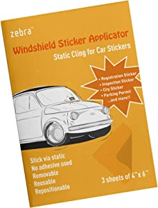 Zebra Windshield Sticker Applicator - Static Cling for Stickers, 4 Inch by 6 Inch Clear Films, Works with Registration Sticker, Inspection Sticker, City Sticker and Parking Permit, Pack of 3 Sheets