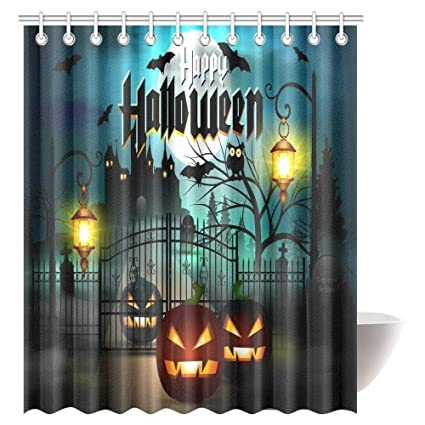 Vintage Halloween Shower Curtain Set Caste With Scary Bats And Ghosts Full Moon Bath Waterproof
