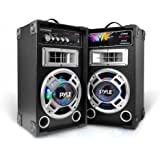Pyle PSUFM826LED Disco Jam Dual Bookshelf Stereo Speaker System, USB/MP3 Streaming, FM Radio, DJ Lights
