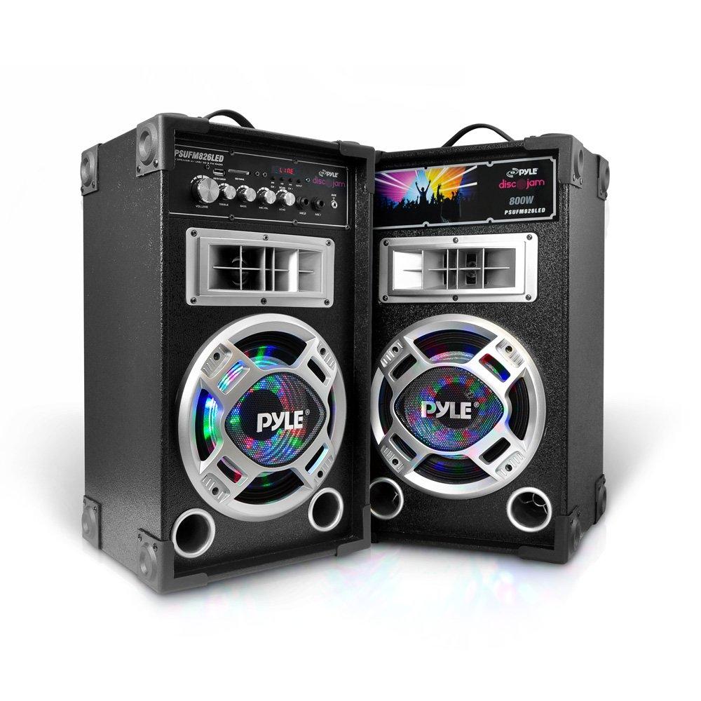 Pyle PSUFM826LED Disco Jam Dual Bookshelf Stereo Speaker System, USB/MP3 Streaming, FM Radio, DJ Lights