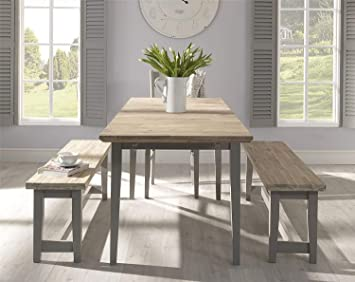 DOVE GREY Dining Bench With Very Solid Hardwood Seat, QUALITY Kitchen Dining  Table Wooden Bench