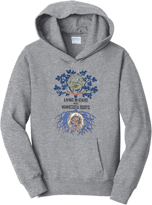 Tenacitee Girls Living in Idaho with Minnesota Roots Hooded Sweatshirt