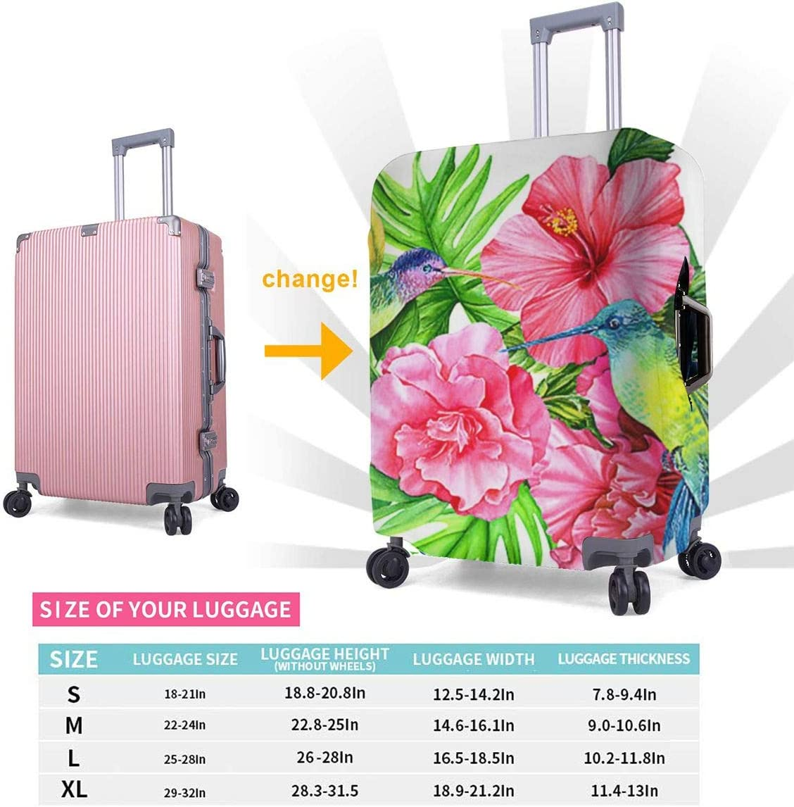 18-32 Inch Luggage Cover Protector Bag Suitcase Cover Protectors Travel Luggage Sleeve Protector S M L XL Greeting Card Hummingbirds Hibiscus Flowers Palm Leaves Watercolor Easter XL