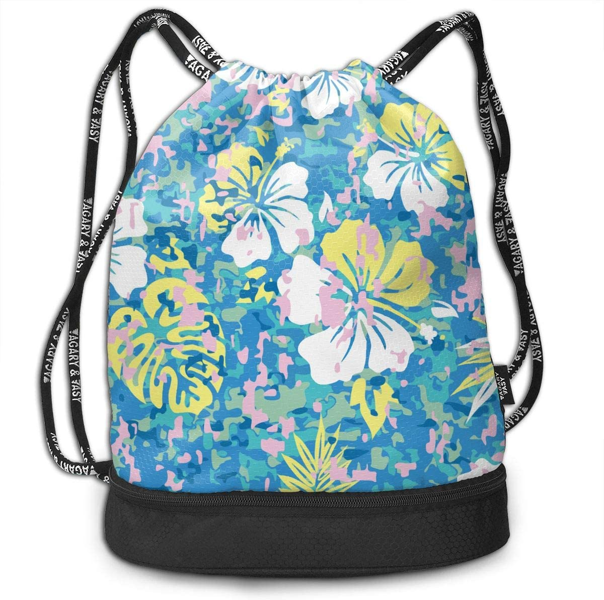 Drawstring Backpack Aloha Hawaiian Camouflage Flower Shoulder Bags