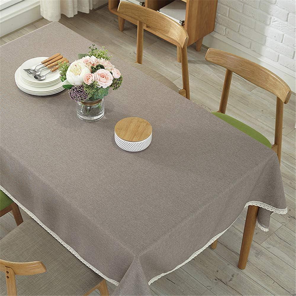 DHHY Mantel de Algodón Y Lino Color Sólido Encaje Tela de Mesa de Café A Prueba de Polvo Fiesta Festiva decoración Mantel E 60X90cm: Amazon.es: Hogar