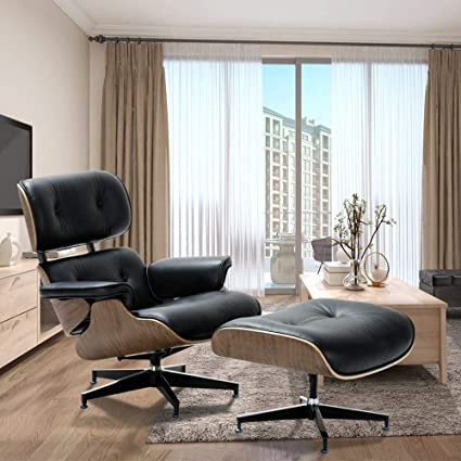 Incredible Modern Sources Mid Century Recliner Lounge Chair With Ottoman Real Wood Genuine Italian Leather Black Walnut Unemploymentrelief Wooden Chair Designs For Living Room Unemploymentrelieforg
