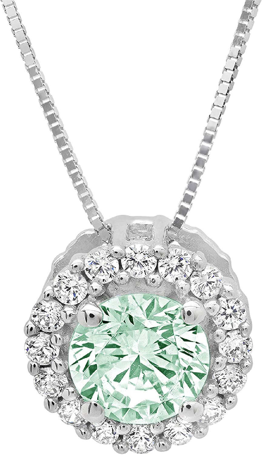 Pink Sapphire Solitaire Pendant Necklace in Solid Sterling Silver 1.25 ct