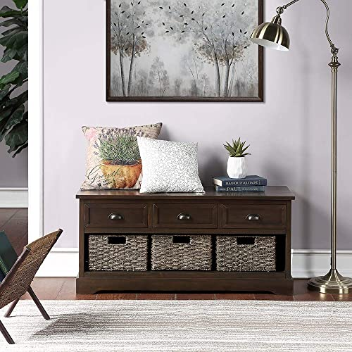 Homes Collection Wicker Storage Bench with 3 Drawers and 3 Woven Baskets Walnut