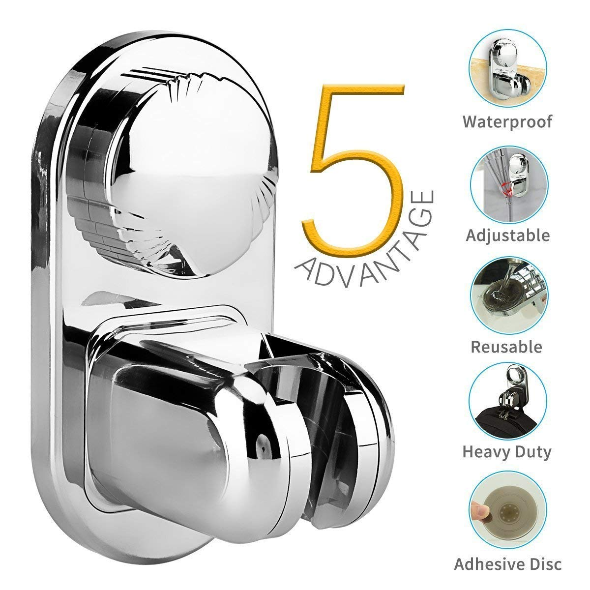 Vacuum Suction Cup Shower HeadHolder Removable Mount Wall Stand Bracket Showerhead, Reusable Adjustable with Adhesive Sucking Disc for Bathroom by VANVENE