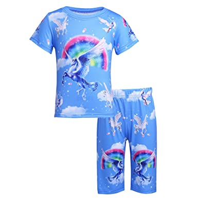 ffee0c35f6b7f TiaoBug Enfant Garçon Fille Licorne Ensemble Pyjamas Licorne Chemise de  Nuit Tops Haut T-Shirt