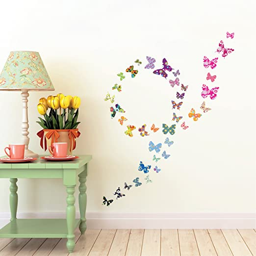 DECOWALL DW-1408 Patterned Butterflies Peel and Stick Nursery Kids Wall Decals Stickers