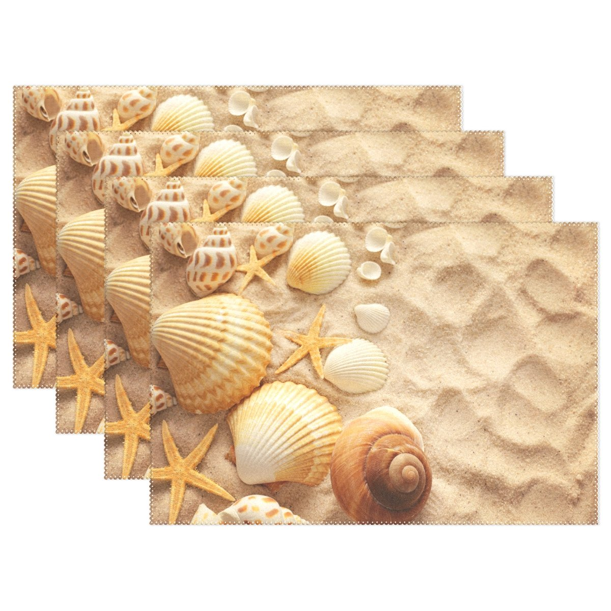 Wozo海ビーチヒトデ貝プレースマットテーブルマット12
