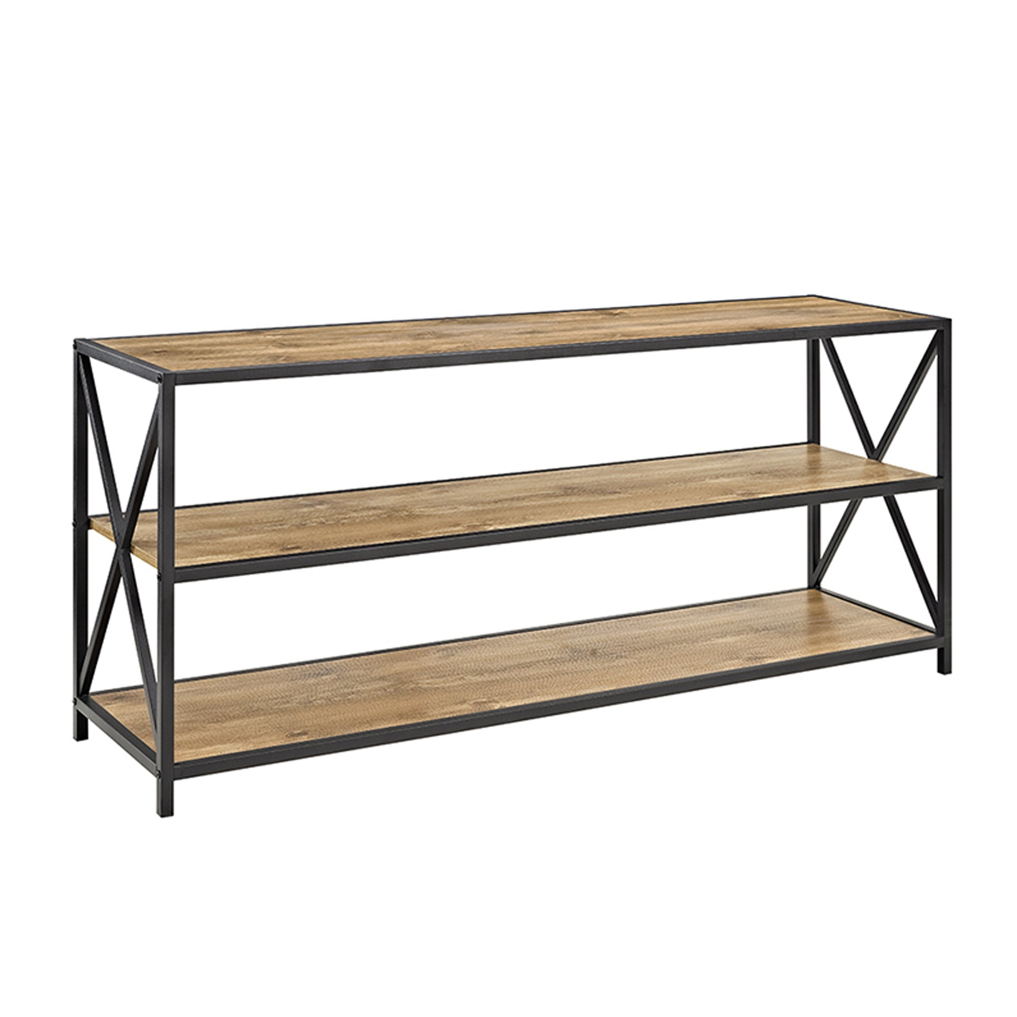 W. Designs X-Frame Metal and Wood Media Bookshelf Barnwood 60''