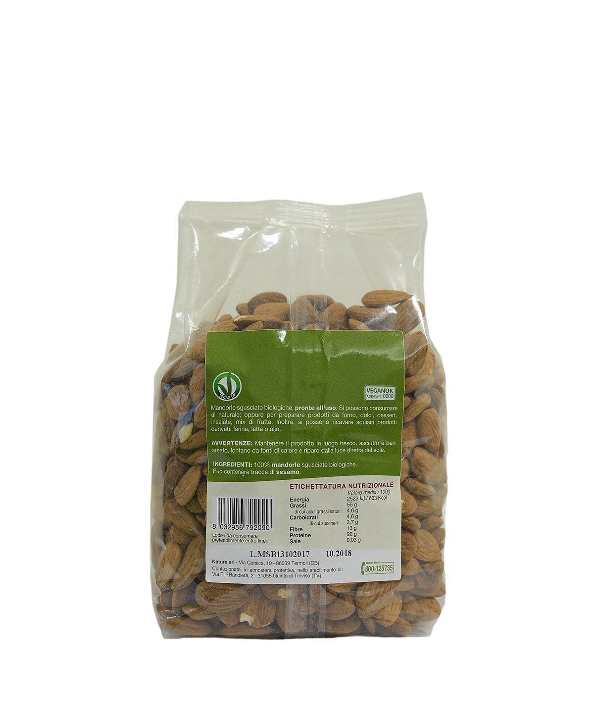 Almendras sin cáscara 1 Kg Envasado en atmósfera protectora - Producido por agricoltura organica: Amazon.es: Alimentación y bebidas