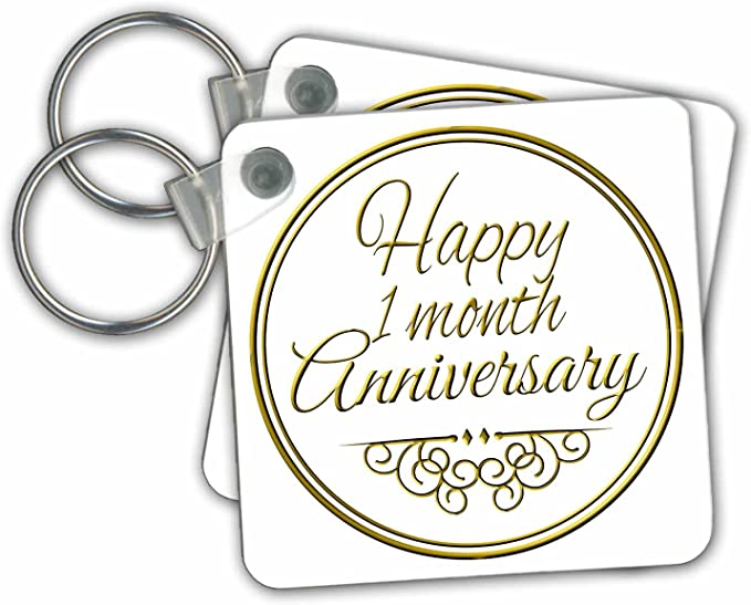 Happy 1 Month Anniversary Gold Text Key Chains 2 25 X 2 25 Inches Set Of 2 Kc 193710 1 Office Products Amazon Com