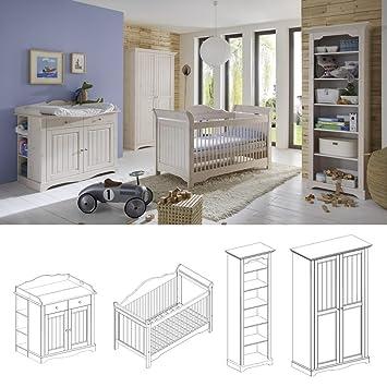 Babyzimmer Lotta 4tlg Set Komplett Kiefer Massiv White Wash Amazon