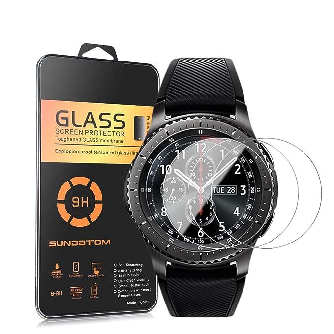 [3-Pack] Samsung Gear S3 frontera Protector de pantalla, Sundatom Samsung Smartwatch vidrio [a prueba de golpes] [anti-arañazos] templado vidrio ...