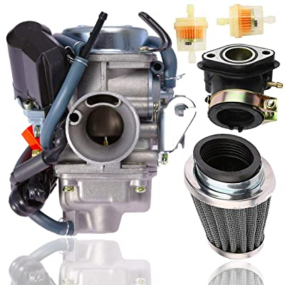 150cc Carburetor + 42MM air fliter + intake manifold for GY6 4 Stroke Hammerhead Twister 150 Go Kart Motorcycle Scooter 152QMJ 157QMI Eagle Taotao Panterra Kymco 4 Wheeler Dune Buggy Moped Scooter Par: Garden & Outdoor