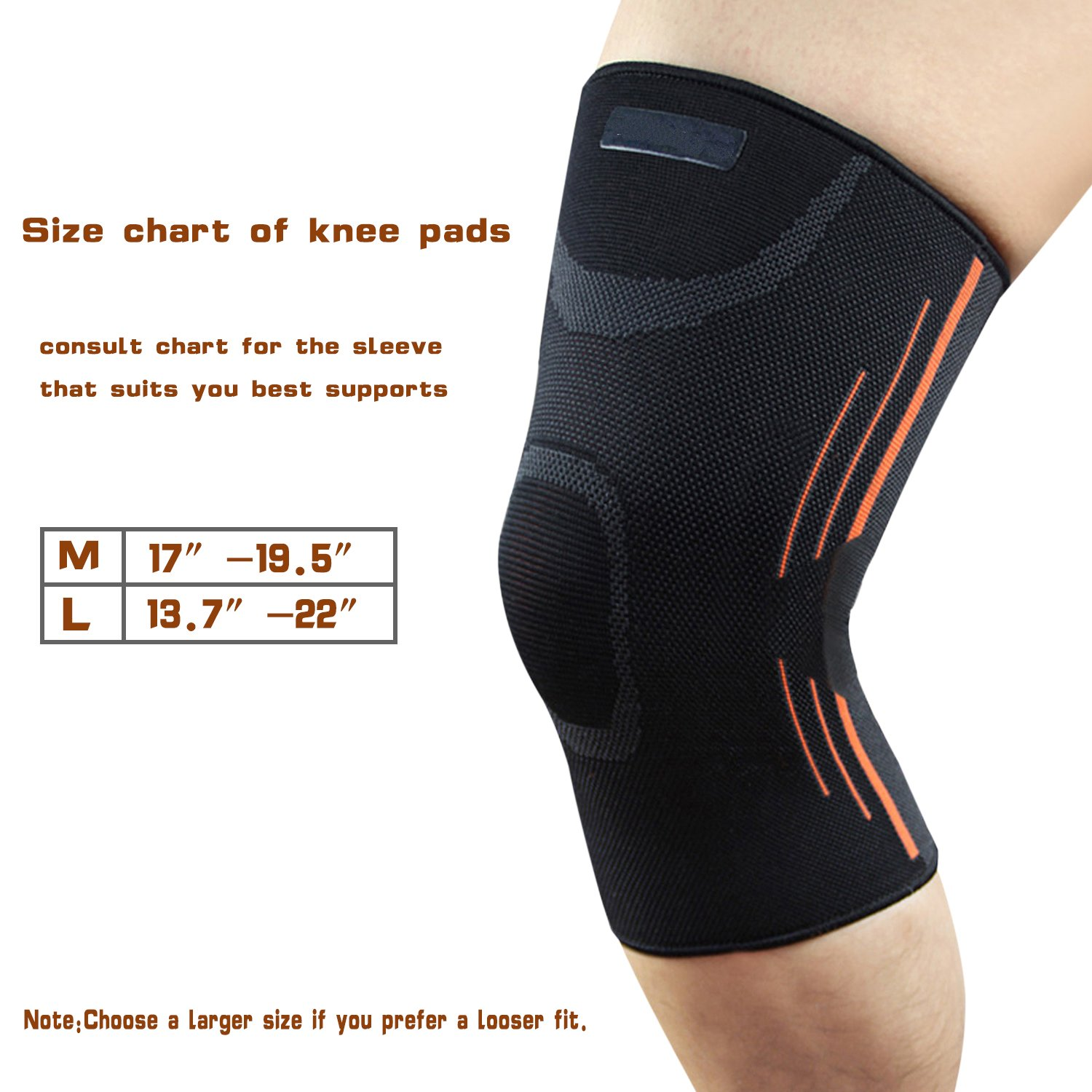 9e874a6611 Knee Brace Sports Compression Support Sleeve, Knee Braces Compression for  Running, Jogging, Biking, Joint Pain Relief, ACL, Arthritis & Injury ...
