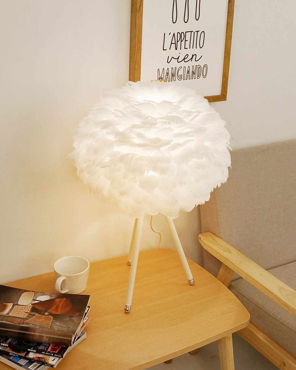 Feather table lamp Decorative table lamp Metal Goose feathers Personality creative Modern simplicity E27 Living room Bedroom Restaurant Bedside lamp (Color: white) by Lizichun (Image #2)