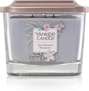 Yankee Candle Elevation Collection with Platform Lid Sunwarmed Meadow Scented Candle, Medium 3-Wick, 38 Hour Burn Time